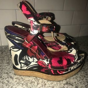 Jimmy Choo Floral Patent Wedges